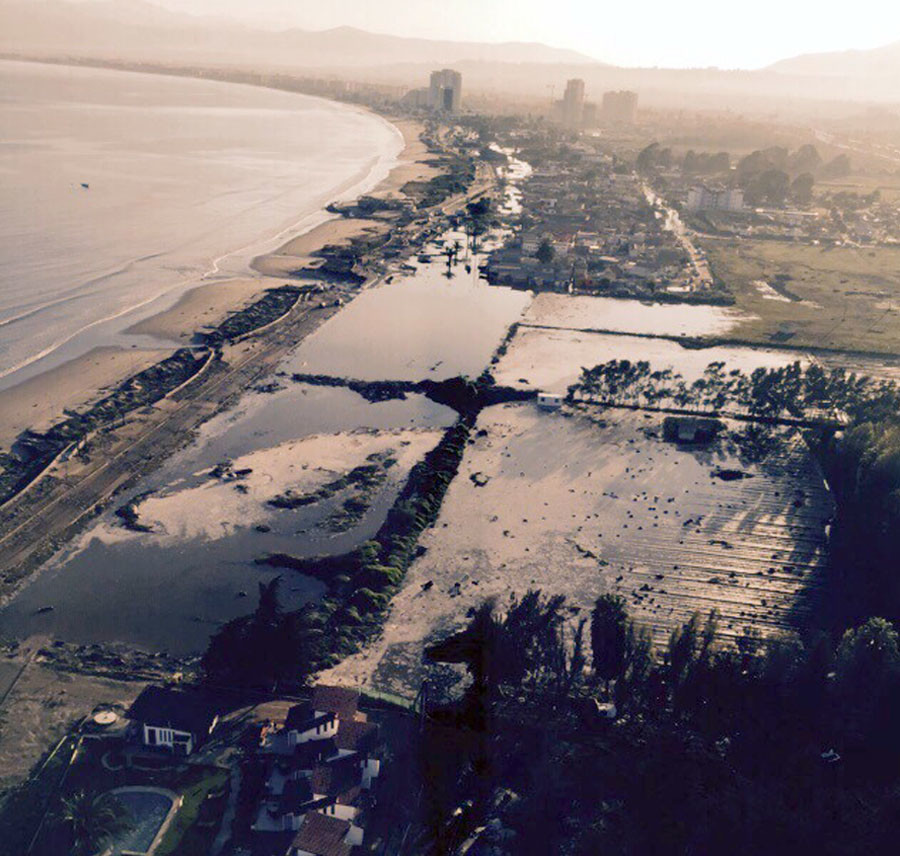 Handout photo of the coastline of La Serena city after an earthquake hit areas of central Chile