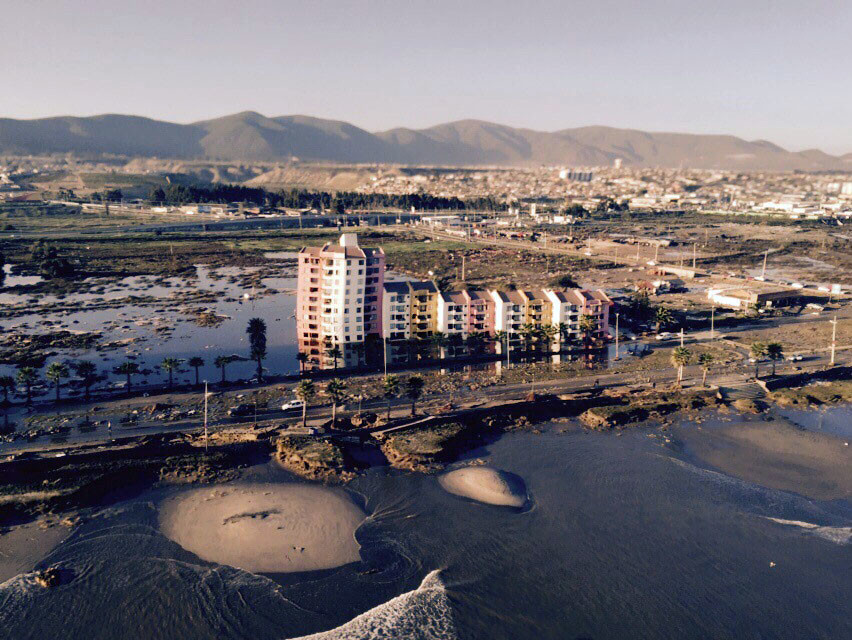 Handout photo of the coastline of Coquimbo city after an earthquake hit areas of central Chile