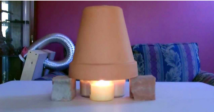 Candle Powered Air Heater — DIY Radiant Space Heater — flower pot heater