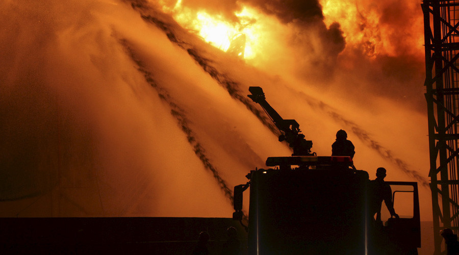 Firefighters try to extinguish fire at a petrochemical plant in Zhangzhou