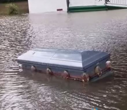 'Worst flooding ever' is pushing coffins out of the ground (video)