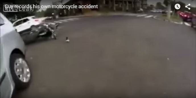 Speeding motorcyclist rams into crossing car & flies over it