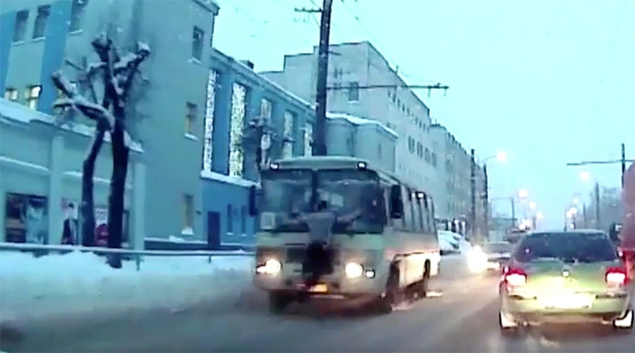 Die hard: Russian throws himself at bus in suicide attempt, goes back to work (VIDEO)