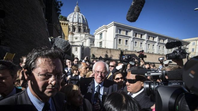 Bernie Sanders calls for a 'moral economy' at the Vatican