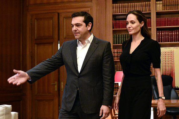 ATHENS, GREECE -  MARCH 16: Special envoy of the United Nations High Commissioner for Refugees Angelina Jolie (R) during a meeting with Greek Prime Minister Alexis Tsipras on March 16, 2016 in Athens, Greece. (Photo by Milos Bicanski/Getty Images)