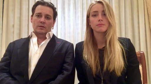 FILE - In this file image made from video released by the Australian Government Department of Agriculture and Water Resources on April 18, 2016, actor Johnny Depp and his wife, Amber Heard speak in a videotaped apology played during a hearing at the Southport Magistrates Court on Queensland state's Gold Coast.  Australia's Deputy Prime Minister Barnaby Joyce boasted on Wednesday, May 25 that he had got into Johnny Depp's head like fictional serial killer Hannibal Lecter after the Hollywood actor quipped that the ruddy-faced lawmaker appeared to be