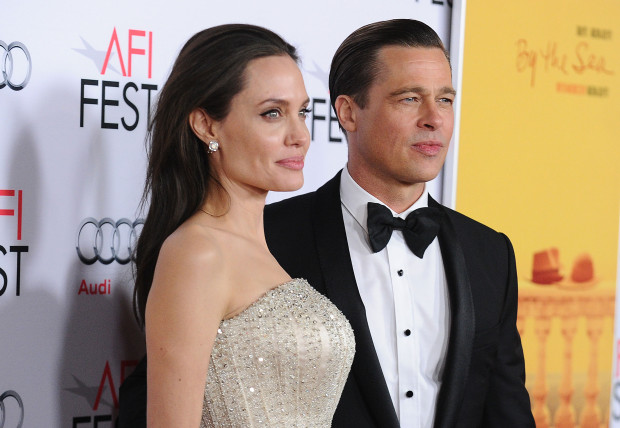 HOLLYWOOD, CA - NOVEMBER 05:  Angelina Jolie and Brad Pitt attend the premiere of