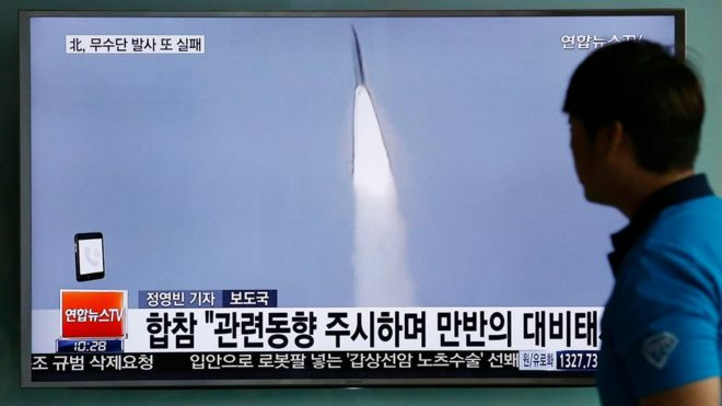 North Korea missile test launch off east coast 'fails'