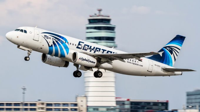 This August 21, 2015 photo shows an EgyptAir Airbus A320 with the registration SU-GCC taking off from Vienna International Airport, Austria. Egyptian aviation officials said on Thursday May 19, 2016 that an EgyptAir plane with the registration SU-GCC, traveling from Paris to Cairo with 66 passengers and crew on board has crashed off the Greek island of Karpathos. Meanwhile, Egypt's chief prosecutor Nabil Sadek says he has ordered an