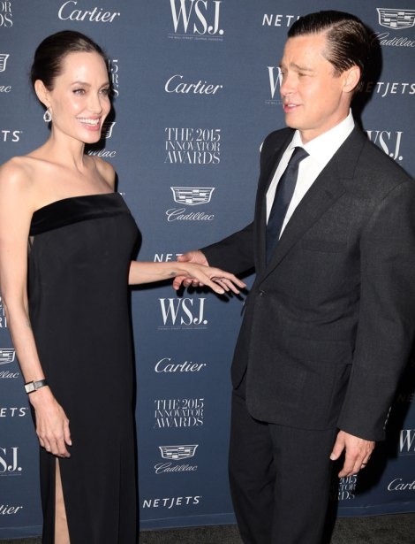 Angelina Jolie at the WSJ Mag Innovators Awards in New York. Pictured: Brad Pitt, Angelina Jolie Ref: SPL1169743  041115   Picture by: Splash News Splash News and Pictures Los Angeles:310-821-2666 New York:212-619-2666 London:870-934-2666 photodesk@splashnews.com