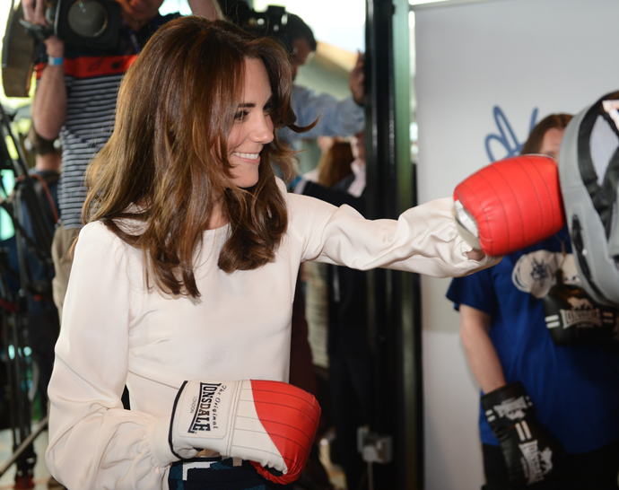 LONDON, ENGLAND - MAY 16:  Catherine, Duchess of Cambridge is seen boxing at Queen Elizabeth Olympic Park during the launch of the Heads Together campaign on mental health on May 16, 2016 in London, England. (Photo by Jeremy Selwyn - WPA Pool/Getty Images)