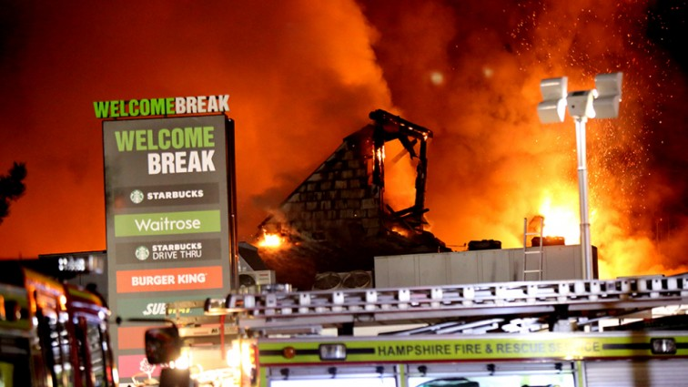 Service station destroyed in huge fire which forced part of motorway to close