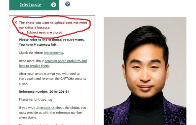 Passport robot tells Asian man his eyes are closed