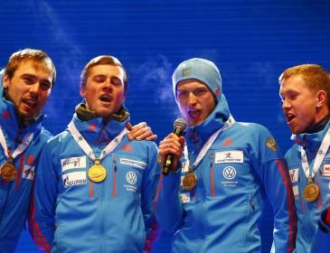 Конфуз российских биатлонистов на ЧМ: организаторы перепутали гимн РФ (ВИДЕО)