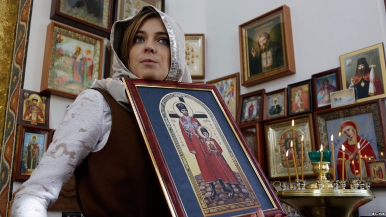 Нет ничего святого! В России предлагают отправить на «Евровидение» Поклонскую «с мироточащей иконой в руках»
