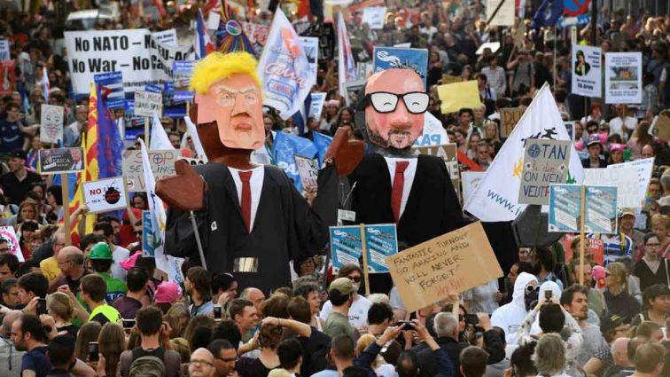 В Брюсселе протестуют против приезда Трампа